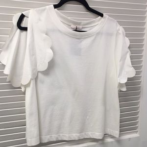 See by Chloe Scalloped Sleeve Boxy Fit Top